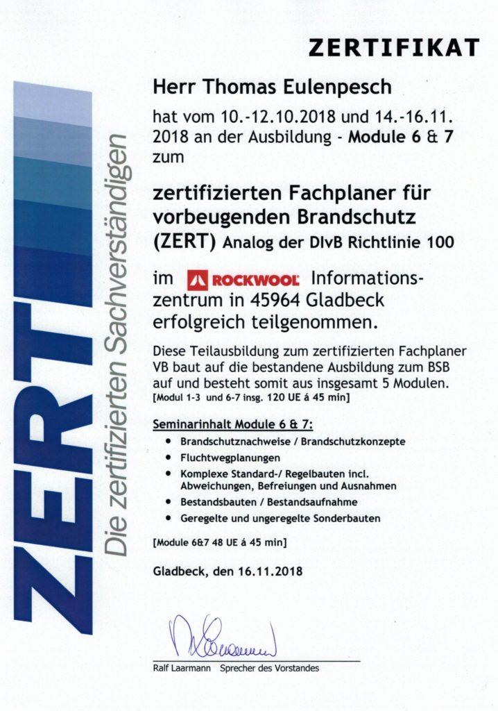 Fachplaner für vorbeugenden Brandschutz (ZERT)