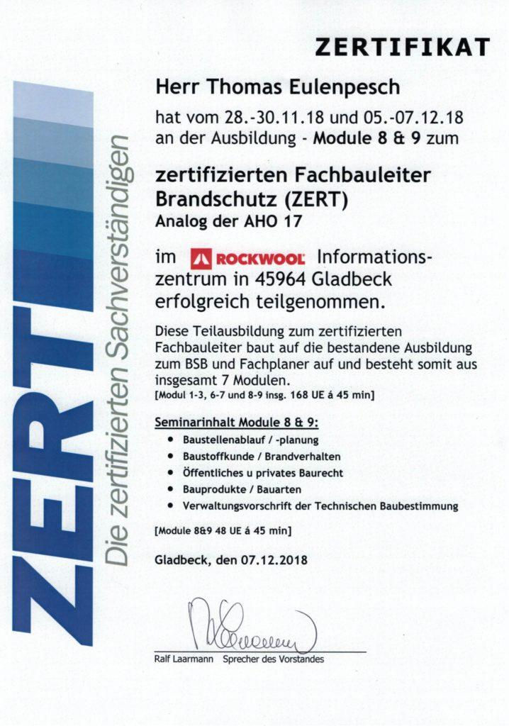 Zertifizierter Fachbauleiter Brandschutz (ZERT)