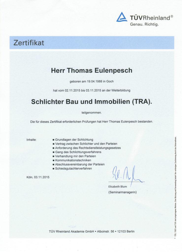 Zertifikate | Planungs und Sachverständigenbüro | Eulenpesch