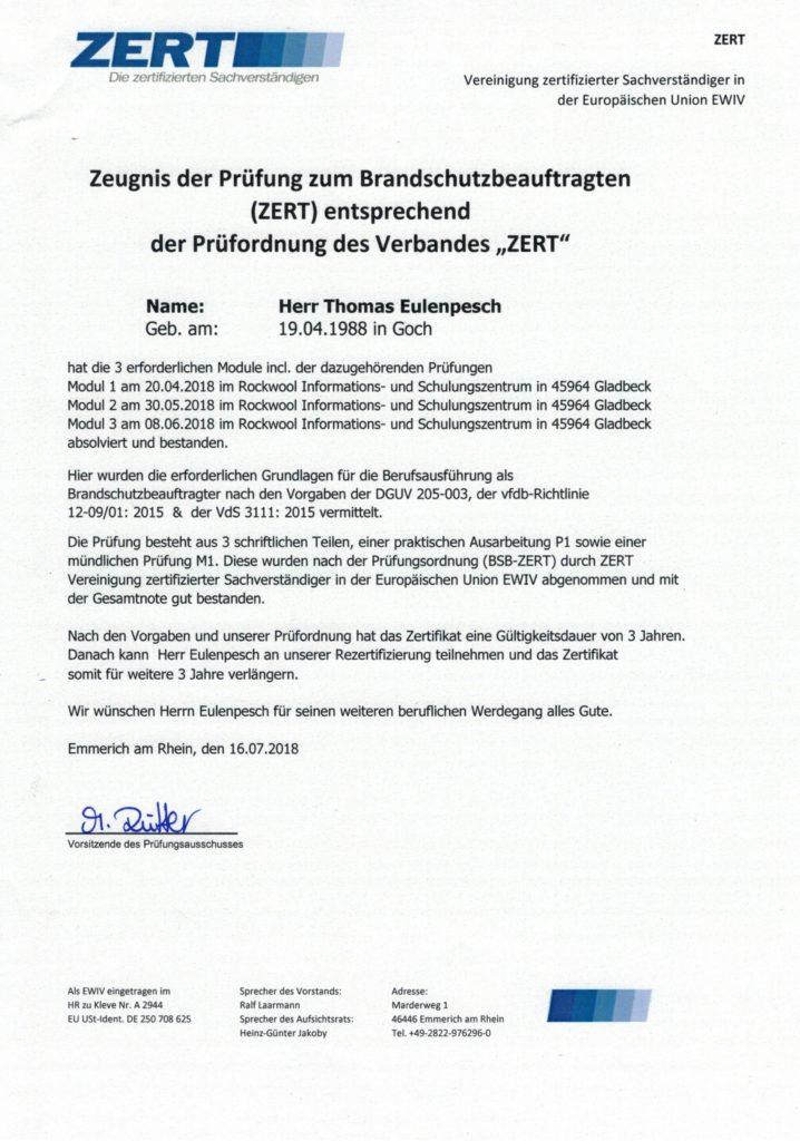 Zeugnis Brandschutzbeauftragter (ZERT)