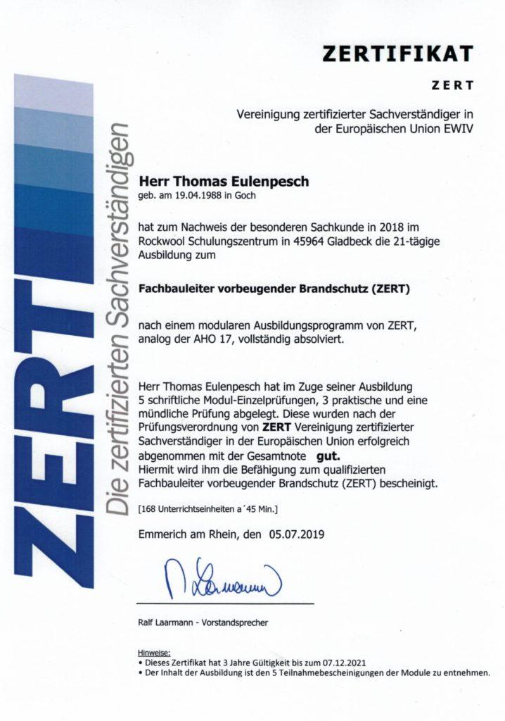 Fachbauleiter vorbeugender Brandschutz (ZERT)