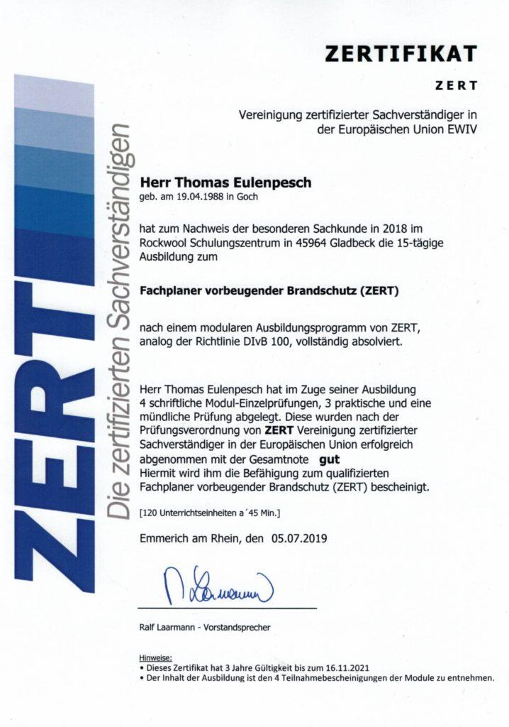 Fachplaner vorbeugender Brandschutz (ZERT)