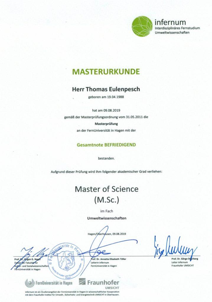 Masterurkunde Thomas Eulenpesch